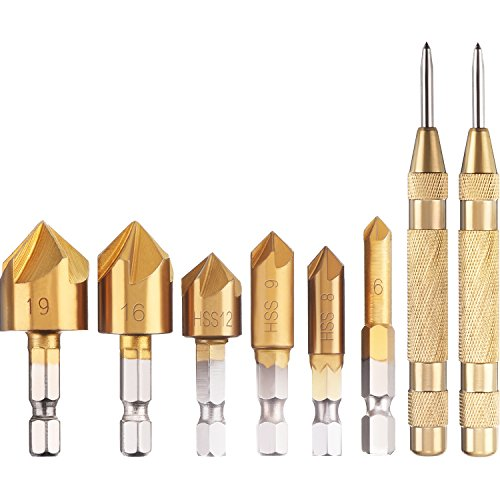Gejoy 2 Pack Automatic Center Punch One-Hand Operational Adjustable Spring Stroke Strength and 6 Pieces Countersink Drill Bit Set 1/4 Inch Hex Shank 90 Degree HSS 5 Flute Hole Cutter - Spring Adjustable Helper