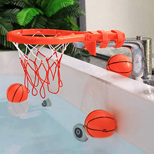 Bath Toy Basketball Hoop & Balls Playset(2 in 1 Design), with 4 balls and Mesh Bag, Bathroom Slam Dunk&Bathtub Shooting Game Gadget, for Kid Boy Girl Child Gift, With Strong Suction Cup and Magic Rop by Punertoy (Image #2)