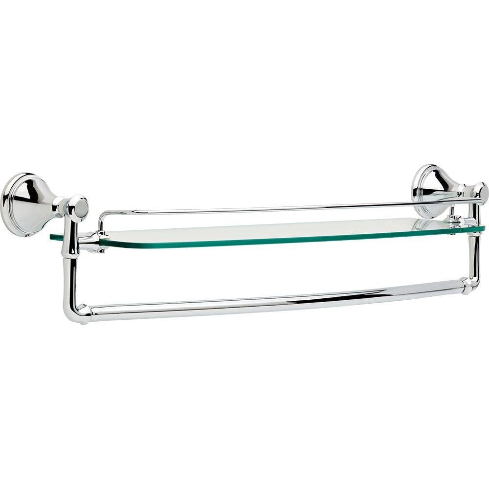 Delta Faucet 79711 Cassidy 24-Inch Glass Shelf with Bar, Chrome