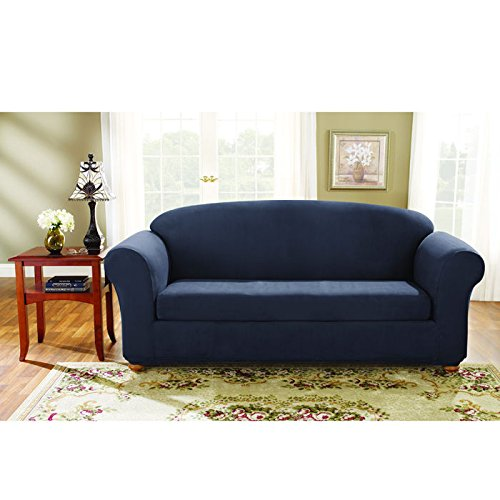 Sure Fit Stretch Suede Sofa 2 Piece Bench Seat Slipcover