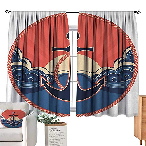 (RuppertTextile Simple Curtain Anchor,Navy Label with Robe and Sea Waves at Sunset Anchor Retro Aquatic Life Icons,Red Blue Yellow Suitable for Bedroom Living Room Study, etc.63 Wx63 L)
