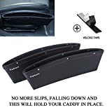 [2017 Upgrade] Car Seat Side Drop Catcher Tray, Kobwa Gap Filler Stop Between Car Seat and Console (include Sticker), Pocket Organizer Caddy for Wallet/ Phone/ Coins (PU Leather, Pack of 2, Black)
