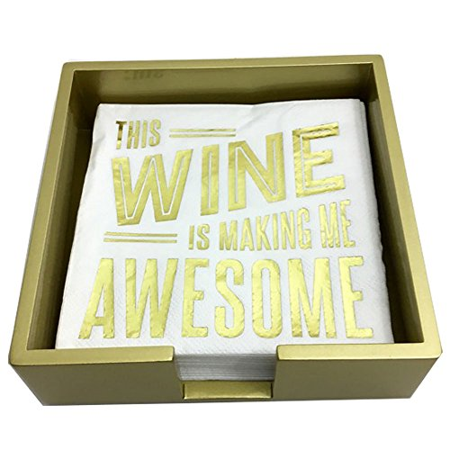 - Gold Laquered Wood Beverage Napkin Caddy and This Wine is Making Me Awesome Disposable Napkin Bundle, 2 Items