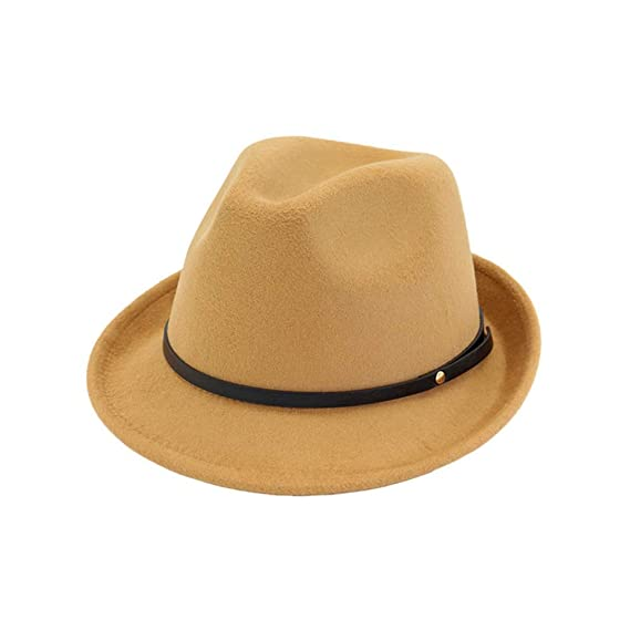 3d954689f80 HYXUM Jazz Fedora Style Hats and borsalino with Black Panama Leather Band  for Men Women Unisex,Camel,55to58: Amazon.co.uk: Clothing
