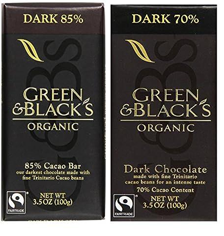 Green and Black Dark Chocolate Bundle 3.5 Ounce Bars | Organic Dark Cacao 85% and 70% Bars - Cocoa Extra Dark Chocolate