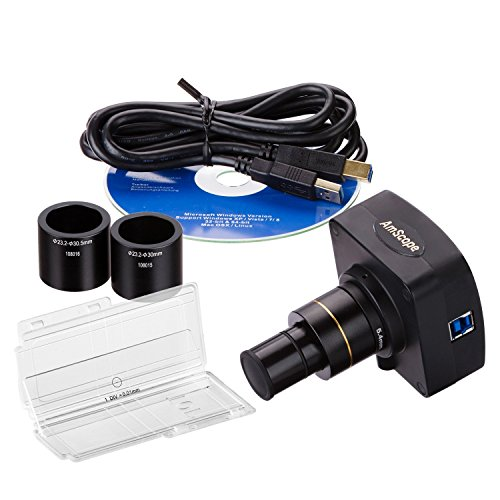 AmScope 5MP USB3.0 Real-Time Live Video Microscope Digital Camera + Calibration Kit by AmScope