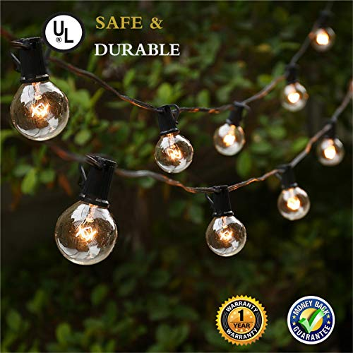 Outdoor String Lights, G40 25Ft Globe Bulbs Edison Style Patio String Light Lamp, Tungsten Bulbs Christmas String Lights for Garden Porch Backyard Party Yard Christmas Tree Decoration, USA UL Listed ()