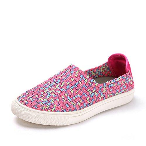 Un color de resorte pedal tejidos zapatos/Zapatos de mujer plana redonda A