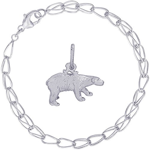 Rembrandt Charms Sterling Silver Polar Bear Charm on a Double Twist Bracelet, (Arctic Ice Collection)