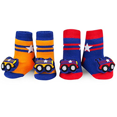 WADDLE Cute Transportation Rattle Socks For Baby Boys Train Rattle Booties 0-12 Month - Metra Line