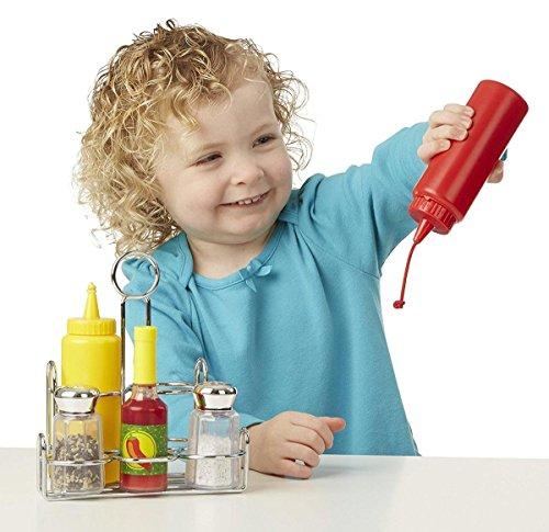 Play Food Set Caddy Ketchup Mustard Hot Sauce Salt Pepper Kids Pretend Toys New, Rocket Science Toys, 2018