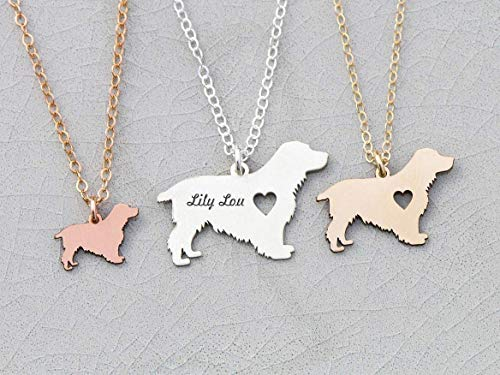 - Cocker Spaniel Dog Necklace - IBD - American - Personalize with Name or Date - Choose Chain Length - Pendant Size Options - 935 Sterling Silver 14K Rose Gold Filled Charm - Ships in 1 Business Day