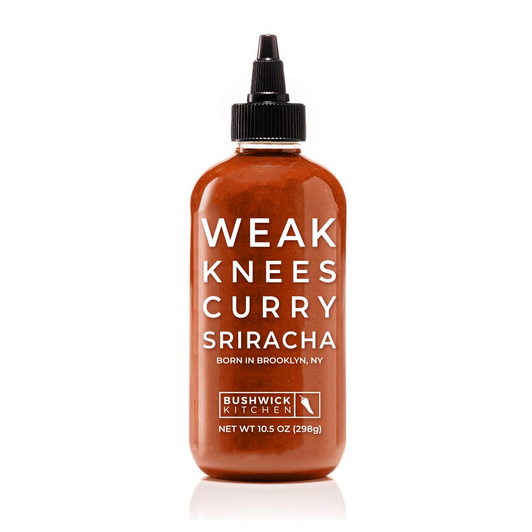 Bushwick Kitchen Weak Knees Curry Sriracha Hot Sauce, Classic Sriracha mixed with Korean Gochujang Chili Paste infused with Curry Spices, 10.5 Ounces
