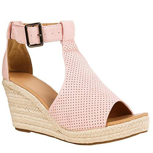 Syktkmx Womens Espadrille Platform Wedge Heel Peep Toe Ankle Strap Slingback Suede Sandals (7 B(M) US, d-Pink)