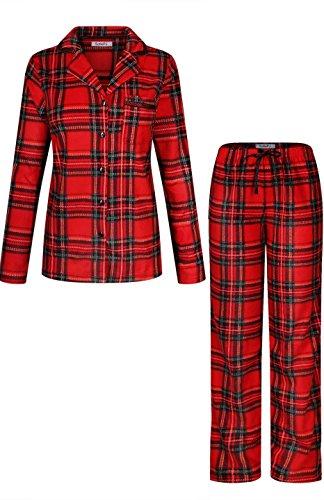 Fleece Print Pajama Set - SofiePJ Women's Warm Plush Soft Fleece Christmas Holiday Plaid Print Button Down Pajama Gift Set Dark Red Black L(556341)