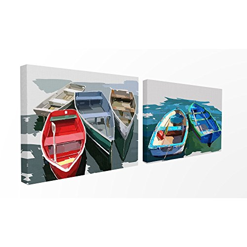 The Stupell Home Decor Collection Bold Brush Stroke Boats Stretched Canvas Wall Art, 16x20, ()