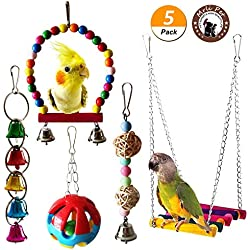 Mrlipet Bird Swing Toys with Colorful Wood Beads Bells and Wooden Hammock Hanging Perch for Budgie Lovebirds Conures Small Parakeet Cages Decorative Accessories (Bird Swing Toys with Bell)