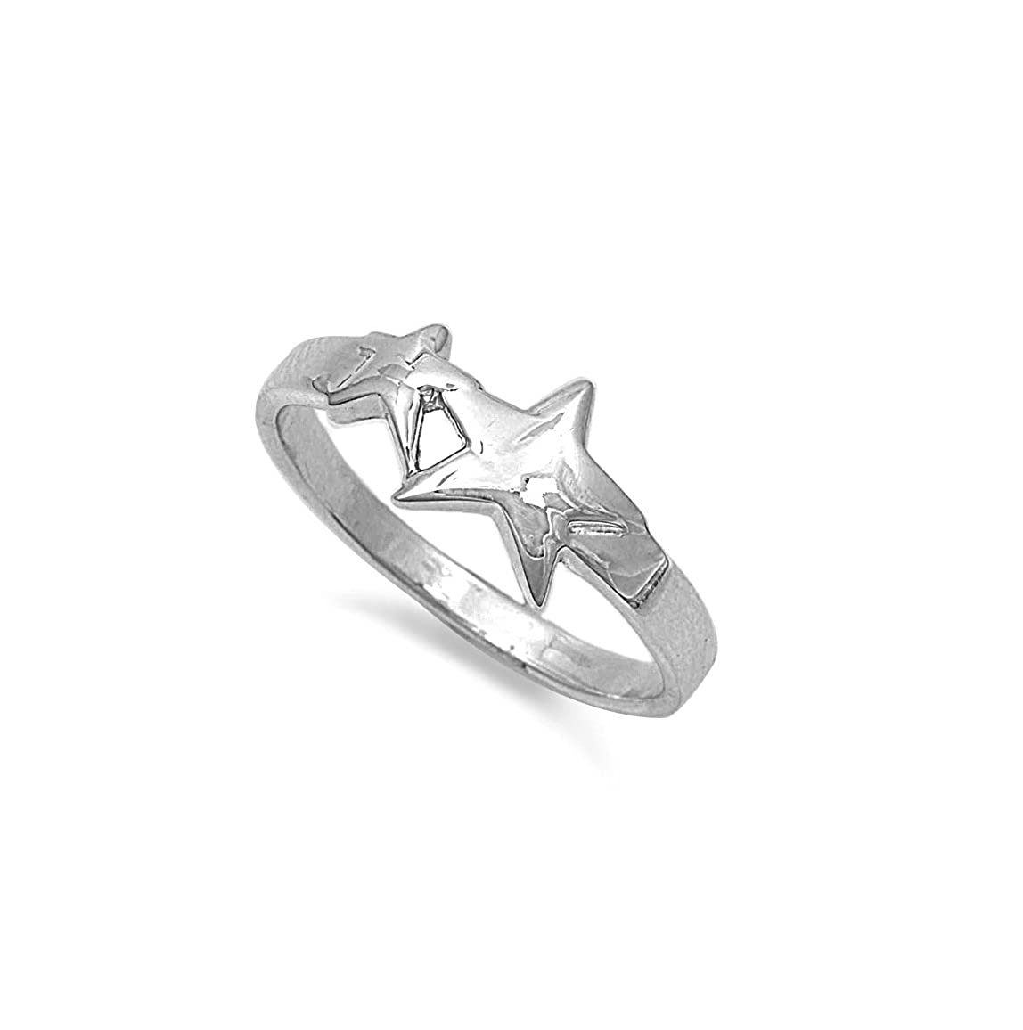Princess Kylie 925 Sterling Silver Dual Polished Stars Ring