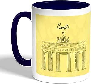 كوب سيراميك للقهوة بتصميم معالم عالمية - متحف برلين ، لون ازرق