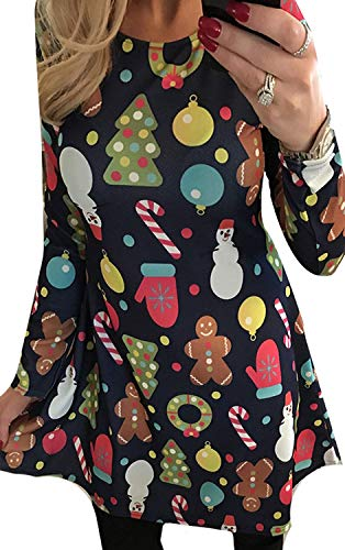 For G and PL Women Christmas Long Sleeve Gift Printed Party Swing Tunic Mini Dress Tree S