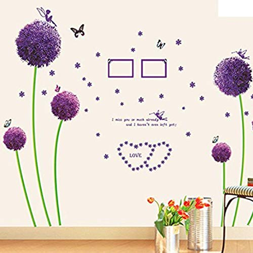 Purple Dandelion Stickers, E-Scenery Peel and Stick DIY 3D Wall Decals Mural Art Wallpaper for Kids Room Home Nursery Party Window Decor]()