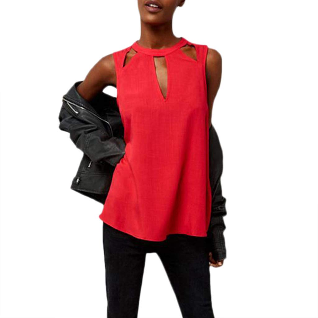 Summer Womens Plus Size Sleeveless Round Neck Back Keyhole Cutout Solid Loose Tunics Tank Tops Blouse Tshirt Vest Red