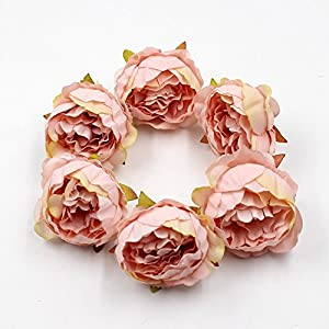 FLOWER 15pcs/lot 5cm Peony Head Silk Artificial Wedding Decoration DIY Garland Scrapbook Gift Box (Champagne) 2