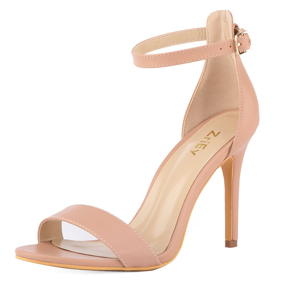 ZriEy Women's Heeled Sandals Ankle Strap High Heels 10CM Open Toe Bridal Party Shoes Nude Size 9
