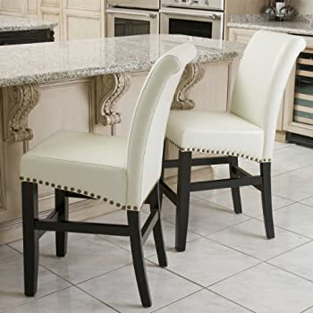 Amazon Com Clifton Ivory Leather Counter Stools W Brass