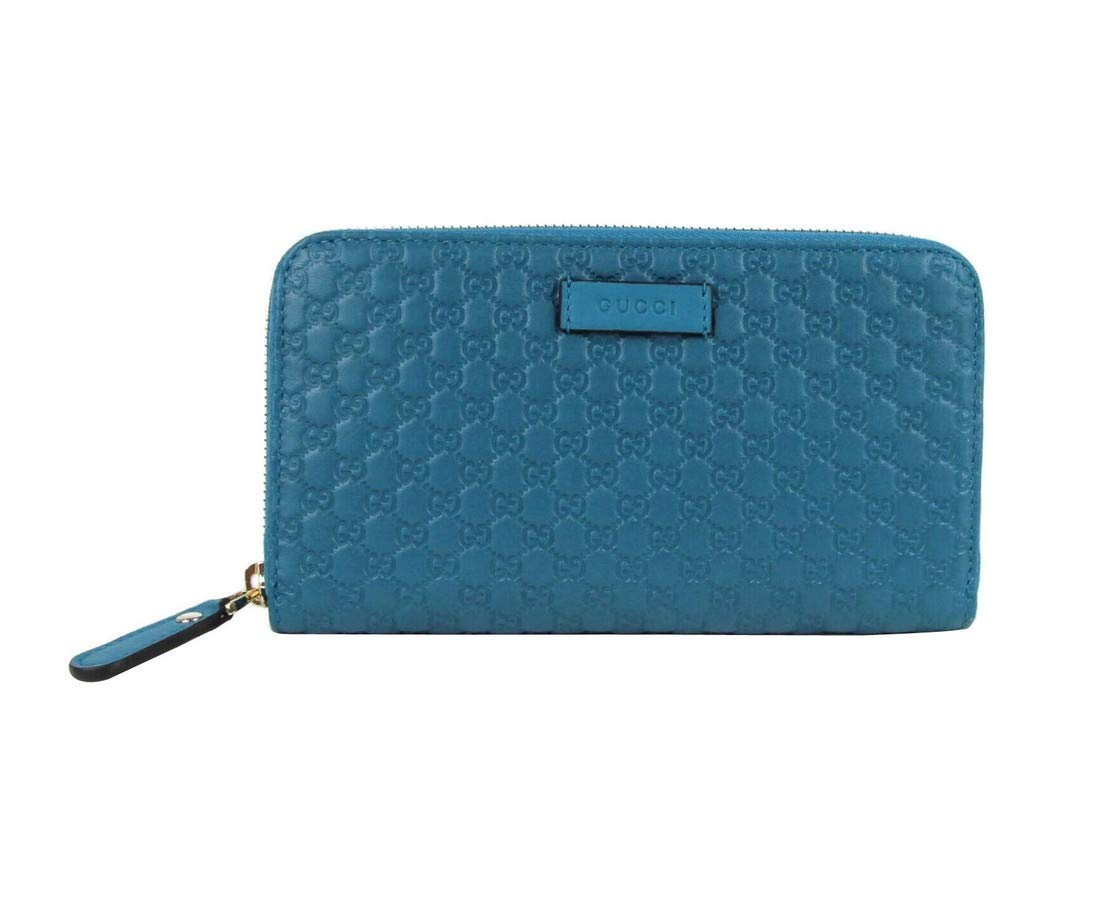 Gucci Women's Deep Cobalt Blue Microguccissima Leather Zip Around Wallet 449391 4618