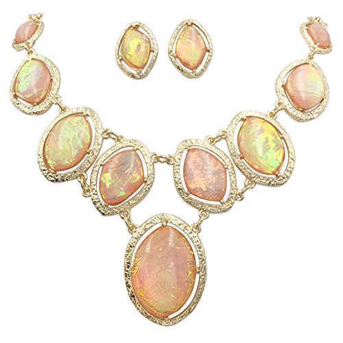 Gypsy Jewels Iridescent Foil Statement Bib Gold Tone Necklace & Stud Post Earring Set (Peach)