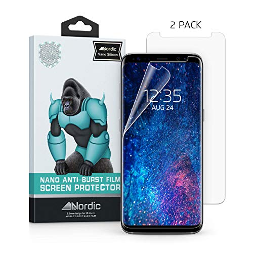 2 Pack Samsung Galaxy S9 and S8 Clear Silicon Screen Protector [Case Friendly] Curved Edge. Bubbles Disappear After 24hrs and Compatible With S9 and S8. By Nordic