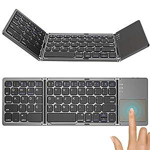 キーボード Bluetooth 折りたたみ式 タッチパッド搭載 軽量 薄型 コンパクト