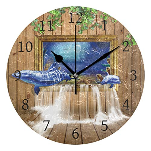 Dolphin Waterfall (AHOMY Dolphin Board Window Waterfall Number Wall Clock, 9.5 Inch Round Clock Silent Non-Ticking Battery Operated Easy to Read for Home Office School)