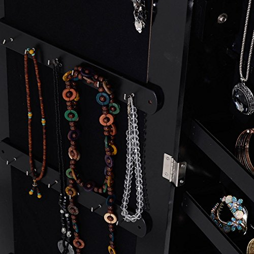Mirrored Jewelry Armoire - Standing Wooden Locking - Rings Necklaces Bracelets Box for Girls - Black