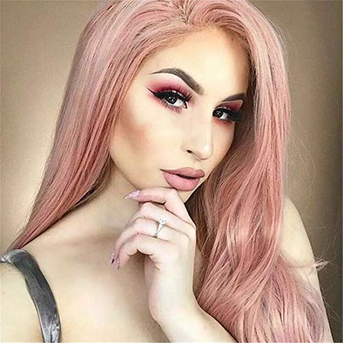 Cool2day Long Synthetic Wig Straight Ombre Light Brown Color Pink Grey Middle Part Wigs For Black Women Cosplay