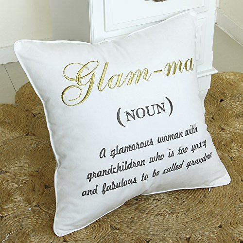 DecorHouzz Glamma Embroidered Pillow Case Decorative Cushion Cover Grandmother Gift Nana Throw Birthday Grandma Me Ma 14x14