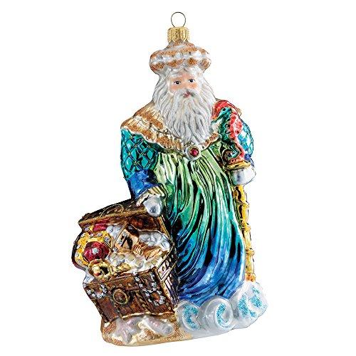 Kurt Adler Polonaise Glass Neptune Santa Ornament, 7.08-Inch