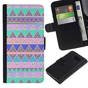 For Samsung Galaxy S6 Case , Native American Pattern Pink Teal - la tarjeta de Crédito Slots PU Funda de cuero Monedero caso cubierta de piel