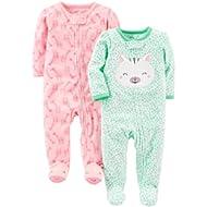 [Sponsored]Baby Girls' 2-Pack Fleece Footed Sleep and Play