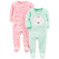 Simple Joys by Carter's Baby Girls' 2-Pack Fleece Footed Sleep and Play, Kitt...