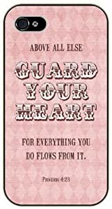 Above all else guard your heart. From everything you do flows from it - Proverbs 4:23 - Vintage pink - Bible verse IPHONE 5C black plastic case / Christian Verses