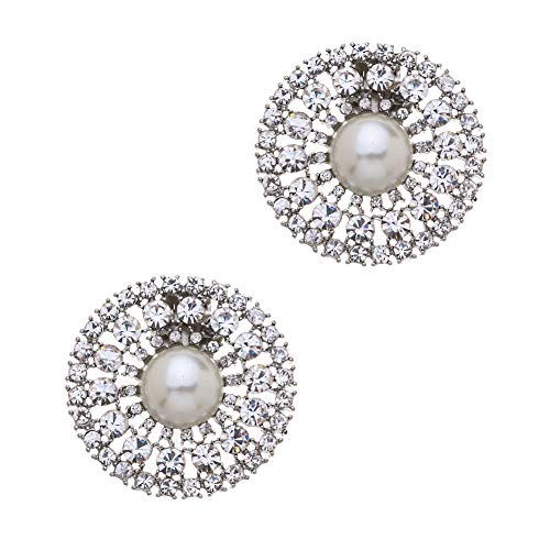 Casualfashion 1 Pair Women's Beautiful Round Pearls Rhinestones Crystal Wedding Party Shoe Clips Decoration