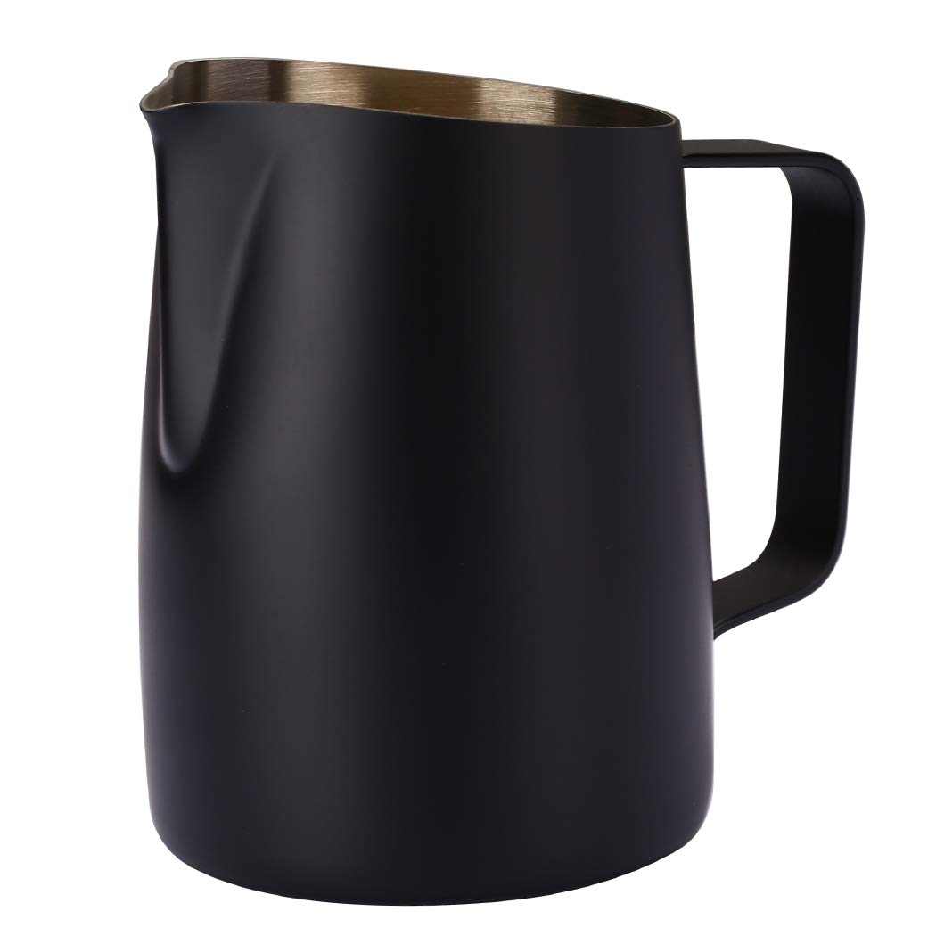Dianoo Espresso Steaming Pitcher, Espresso Milk Frothing Pitcher Stainless Steel, Coffee Latte Art Cup 14.2 OZ (420ml) Black by Dianoo