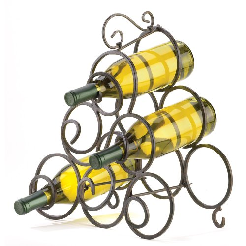 Gifts & Decor Wrought Iron Scrollwork Spiral Wine Bottle Rack Stand