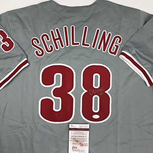 Autographed/Signed Curt Schilling Philadelphia Grey Baseball Jersey JSA COA ()
