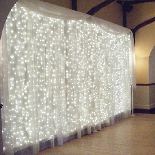 Dacawin 300 Led Curtain Lights Party Wedding Fairy Indoor Outdoor Christmas Garden (White) from Dacawin