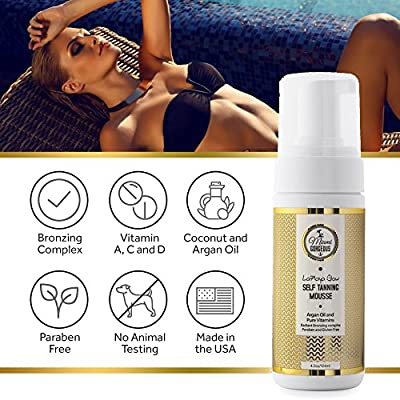 Miami Gorgeous Self Tanning Mousse - LaPlaya Glow Instant Self Tanner Bronzing Mousse to Tan Skin - Sulfate Free - Organic Ingredients - Best Natural Self Tanner 100% Satisfaction Guarantee