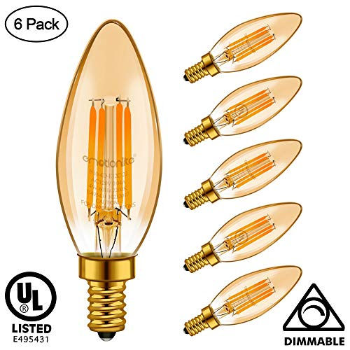 Incandescent Amber Chandelier (Emotionlite E12 LED Bulb, Candelabra Bulb Dimmable, Amber Glow, 4W (40W Equivalent), Chandelier Light Bulbs, 300LM, E12 Candelabra Base, 2200K Warm Yellowish, 6 Pack, UL Listed)