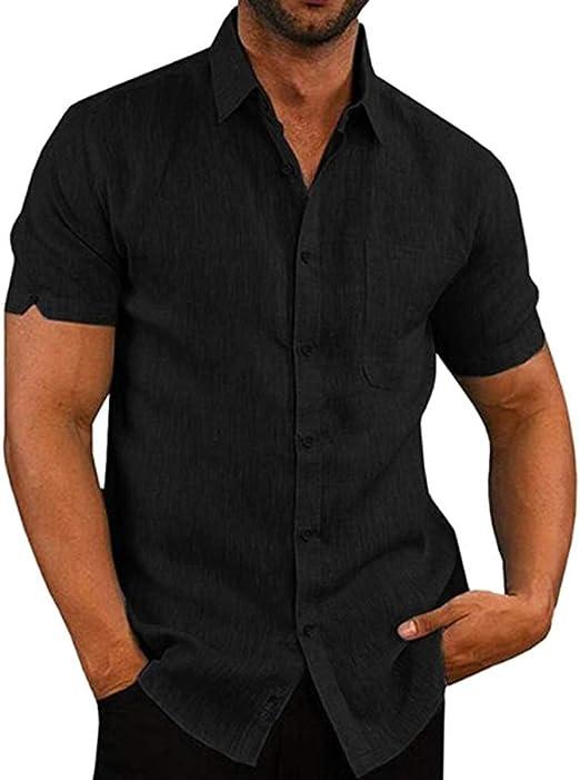 Abracing Hombre Camisa Entallada Manga Corta Liso Casual Trabajo Botón Abajo Camisa Top - Negro, 2XL: Amazon.es: Hogar